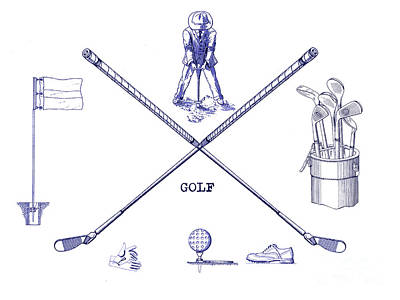 Golf Blueprint Art Print