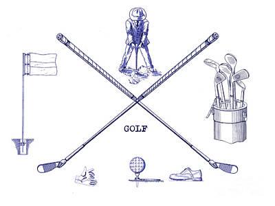 Golf Blueprint Print by Jon Neidert
