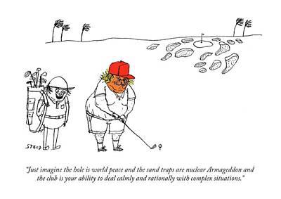 Armageddon Drawing - Golf Caddy Instructs Trump by Edward Steed