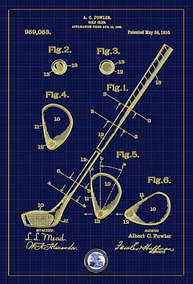 Digital Art - Golf Club Patent Drawing - 1910 by Carlos Diaz