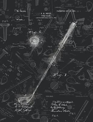 Digital Art - Golf Club Patent Drawing Black 5 by Bekim Art