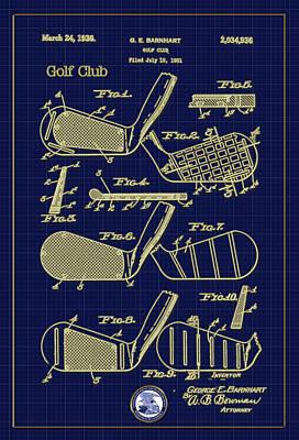 Digital Art - Golf Club Patent Drawing by Carlos Diaz