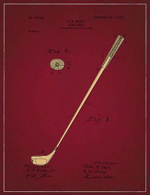 Digital Art - Golf Club Patent Drawing Dark Red 3 by Bekim Art