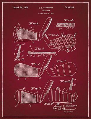 Digital Art - Golf Club Patent Drawing Dark Red 5 by Bekim Art