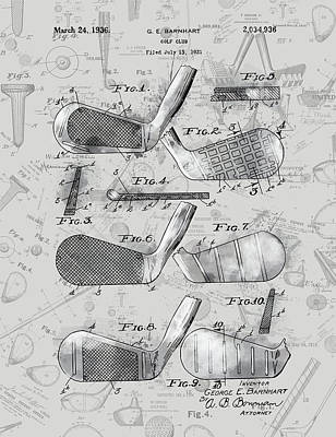 Digital Art - Golf Club Patent Drawing Grey 4 by Bekim Art