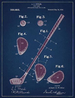 Digital Art - Golf Club Patent Drawing Navy Blue 2 by Bekim Art