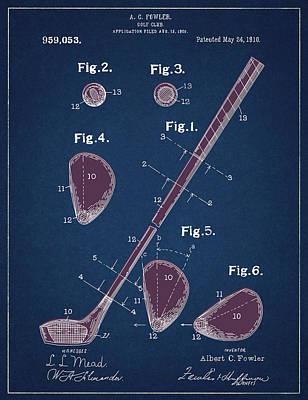 Digital Art - Golf Club Patent Drawing Navy Blue 2 by Bekim Art