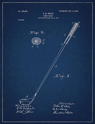 Digital Art - Golf Club Patent Drawing Navy Blue 3 by Bekim Art