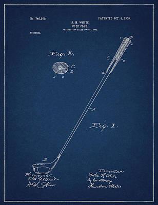 Digital Art - Golf Club Patent Drawing Navy Blue 3 by Bekim Art
