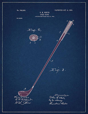 Digital Art - Golf Club Patent Drawing Navy Blue 4 by Bekim Art