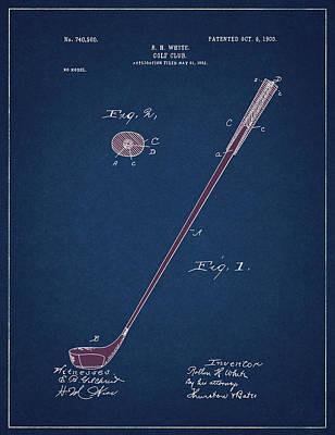 Digital Art - Golf Club Patent Drawing Navy Blue 4 by Bekim Art