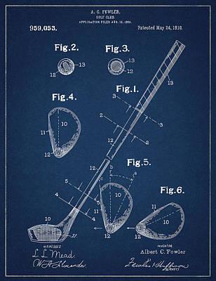 Digital Art - Golf Club Patent Drawing Navy Blue by Bekim Art