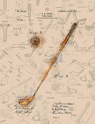 Digital Art - Golf Club Patent Drawing Sepia by Bekim Art
