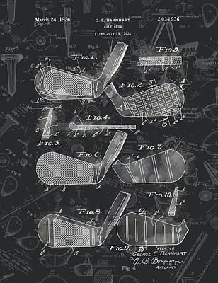 Digital Art - Golf Club Patent Drawing Watercolor Black 3 by Bekim Art