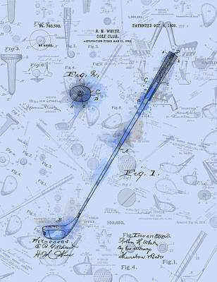 Digital Art - Golf Club Patent Drawing Watercolor Blue by Bekim Art