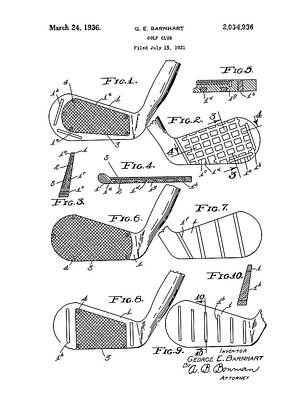 Digital Art - Golf Club Patent Drawing White 3 by Bekim Art