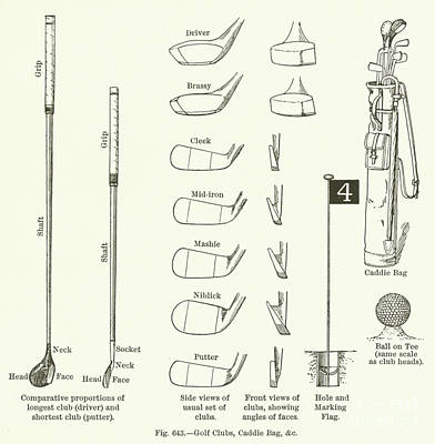 Pen And Ink Drawing Drawing - Golf Clubs, Caddie Bag, Etc  by English School