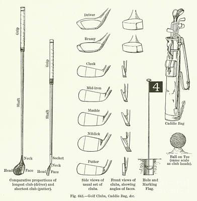 Golf Clubs, Caddie Bag, Etc  Art Print by English School