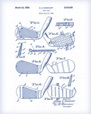 Painting - Golf Clubs Patent Drawing by Gary Grayson