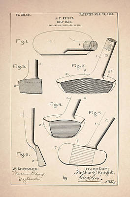 Drawing Photograph - Golf Clubs Patent - Patent Drawing For The 1903 A. F. Knight Golf Clubs by Jose Elias - Sofia Pereira