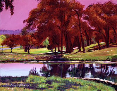 Sports Paintings - Golf Course Dawn by David Lloyd Glover