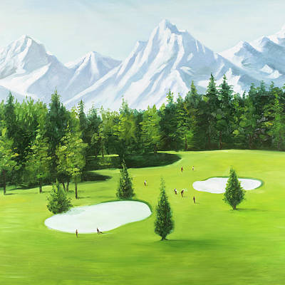 Coniferous Painting - Golf Course With Mountains View by Atelier B Art Studio