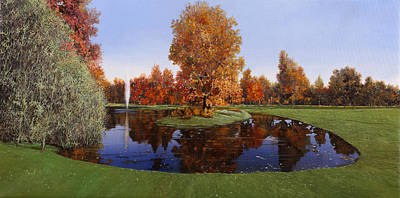 Sports Paintings - Golf  Cherasco by Guido Borelli