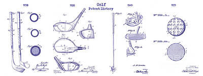 Golf History Patent Drawing Print by Jon Neidert