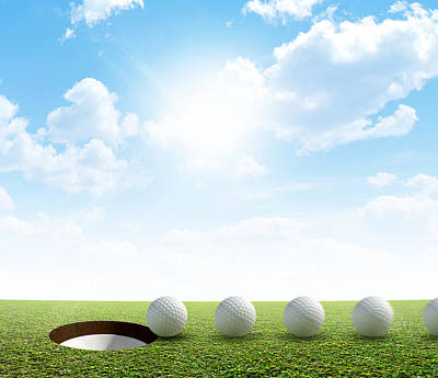 Sink Hole Digital Art - Golf Hole And Ball Putt Path by Allan Swart