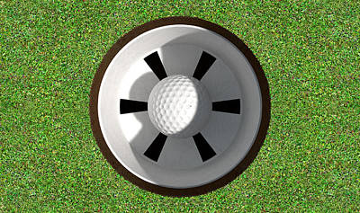 Golf Course Digital Art - Golf Hole With Ball Inside by Allan Swart