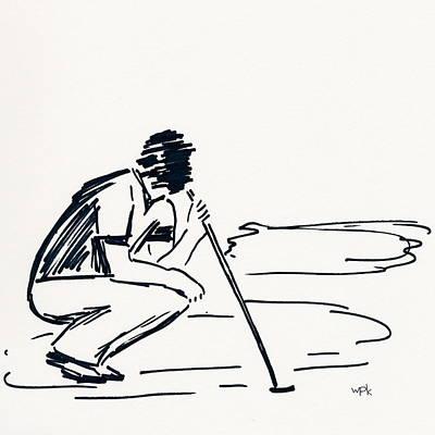 Beach Landscape Drawing - Golf IIi by Winifred Kumpf