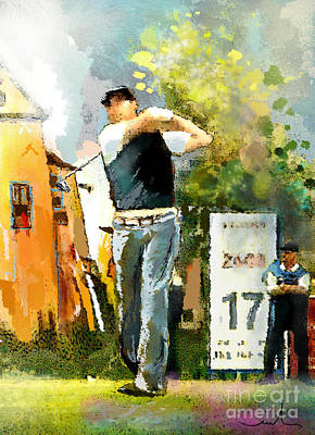 Sports Paintings - Golf in Club Fontana Austria 01 Dyptic Part 01 by Miki De Goodaboom