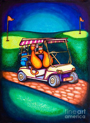 Drawing - Golf Kats by Laurie Tietjen
