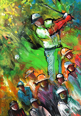 Sports Paintings - Golf Madness 01 by Miki De Goodaboom
