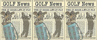 Digital Art - Golf News 1 Mug by Jean Plout