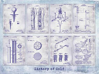 Golf Patent History Drawing Blueprint Art Print