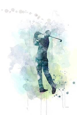 Athletic Digital Art - Golf Player  by Marlene Watson