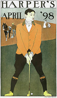 Painting - Golf Poster Harpers April 1898 by Matthias Hauser