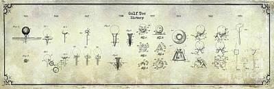 Golf Tee History Patent Drawing Print by Jon Neidert