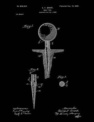 Digital Art - Golf Tee Patent Drawing Black by Bekim Art