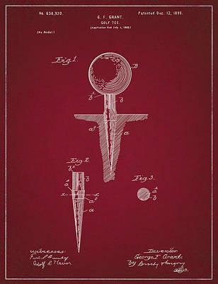 Digital Art - Golf Tee Patent Drawing Dark Red by Bekim Art