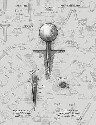 Sports Royalty-Free and Rights-Managed Images - Golf Tee Patent Drawing Grey 2 by Bekim M