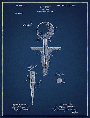 Digital Art - Golf Tee Patent Drawing Navy Blue by Bekim Art