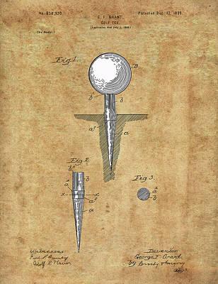 Digital Art - Golf Tee Patent Drawing Vintage by Bekim Art