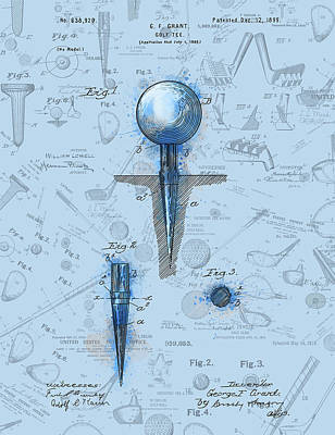 Digital Art - Golf Tee Patent Drawing Watercolor by Bekim Art
