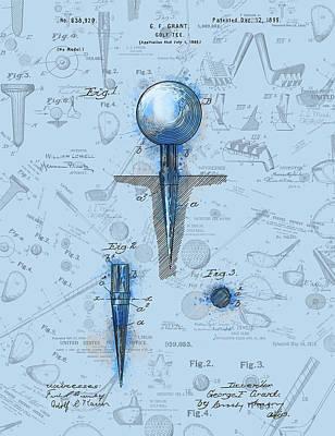 Digital Art - Golf Tee Patent Drawing Watercolor by Bekim Art