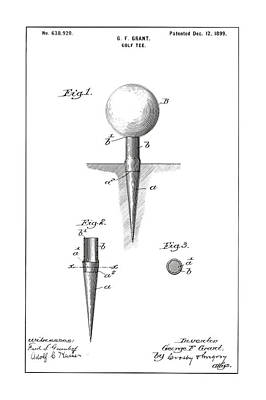 Drawing Photograph - Golf Tee Patent - Restored Patent Drawing For The 1899 G. F. Grant Golf Tee by Jose Elias - Sofia Pereira
