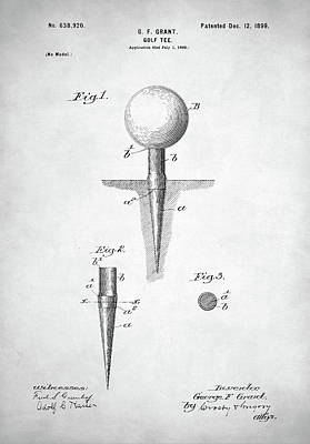 Digital Art - Golf Tee Patent by Taylan Apukovska