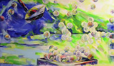 Painting - Golfbaelle In Huelle Und Fuelle   Golf Balls Galore by Koro Arandia