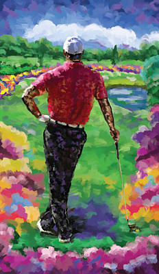 Ernie Els Wall Art - Painting - Golfer 1 by Tim Gilliland